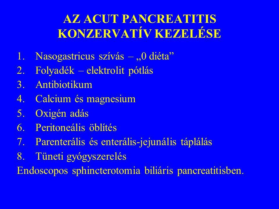 """AZ ACUT PANCREATITIS KONZERVATÍV KEZELÉSE 1.Nasogastricus szívás – """"0 diéta"""" 2.Folyadék – elektrolit pótlás 3.Antibiotikum 4.Calcium és magnesium 5.Ox"""