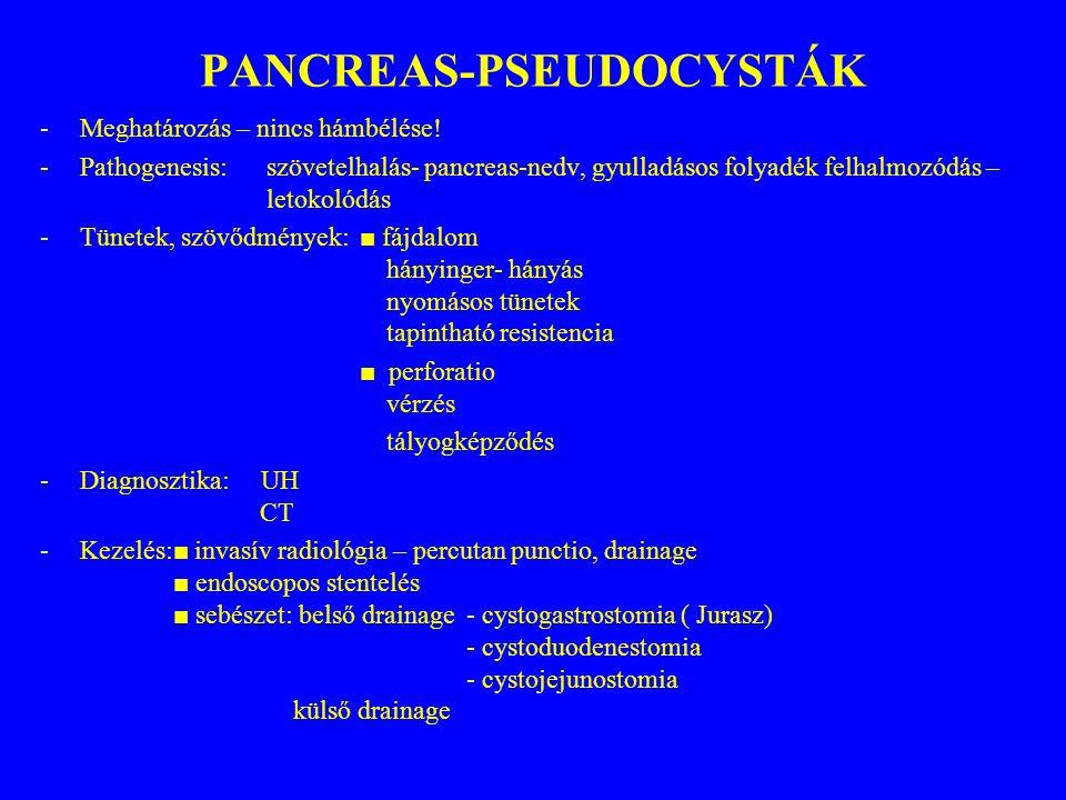 PANCREAS-PSEUDOCYSTÁK -Meghatározás – nincs hámbélése! -Pathogenesis: szövetelhalás- pancreas-nedv, gyulladásos folyadék felhalmozódás – letokolódás -