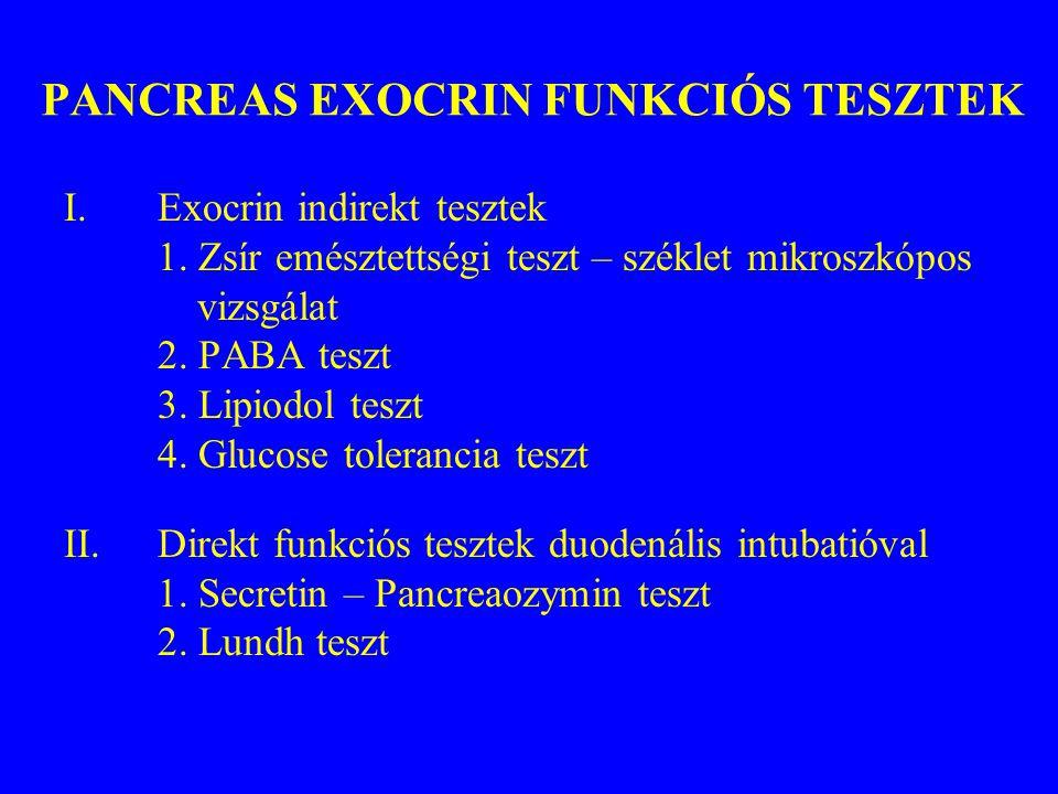 PANCREAS EXOCRIN FUNKCIÓS TESZTEK I.Exocrin indirekt tesztek 1. Zsír emésztettségi teszt – széklet mikroszkópos vizsgálat 2. PABA teszt 3. Lipiodol te