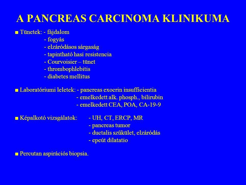 A PANCREAS CARCINOMA KLINIKUMA ■ Tünetek: - fájdalom - fogyás - elzáródásos sárgaság - tapintható hasi resistencia - Courvoisier – tünet - thrombophle