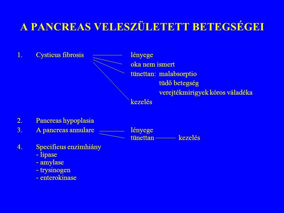 A PANCREAS VELESZÜLETETT BETEGSÉGEI 1.Cysticus fibrosislényege oka nem ismert tünettan: malabsorptio tüdő betegség verejtékmirigyek kóros váladéka kez