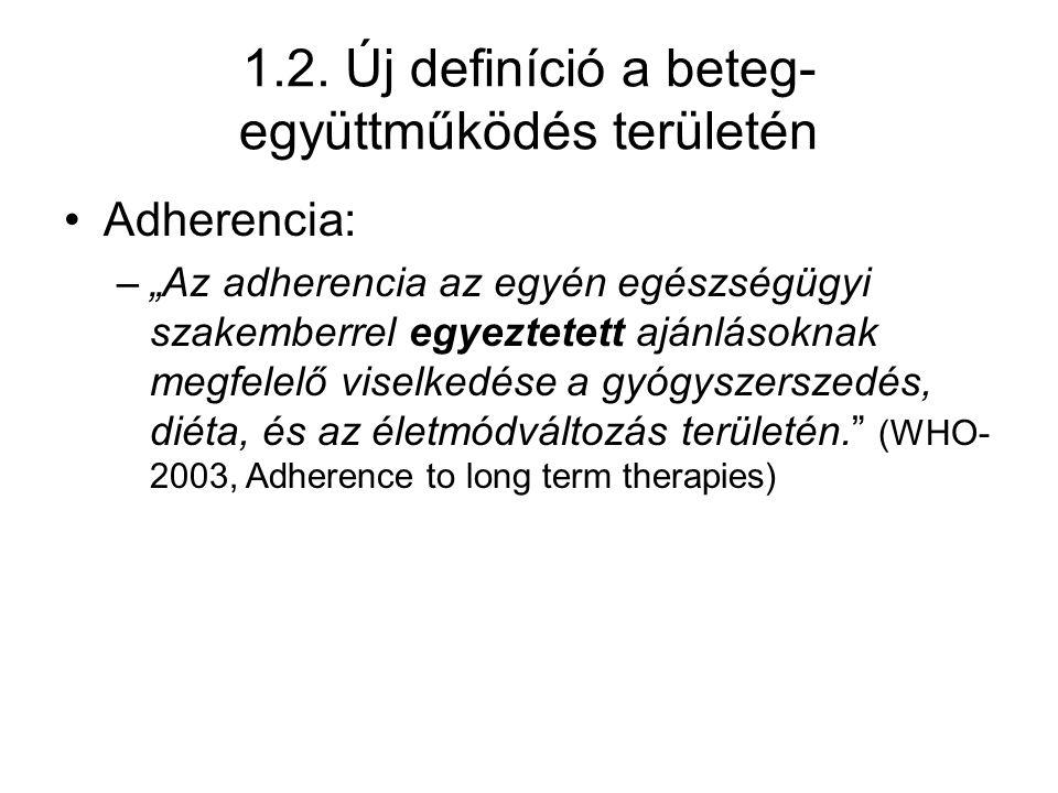 """1.2. Új definíció a beteg- együttműködés területén Adherencia: –""""Az adherencia az egyén egészségügyi szakemberrel egyeztetett ajánlásoknak megfelelő v"""