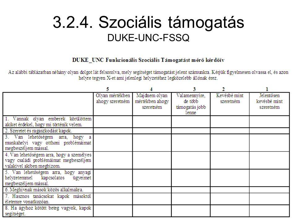 3.2.4. Szociális támogatás DUKE-UNC-FSSQ