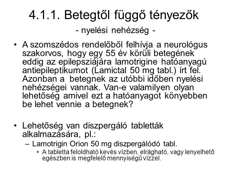 4.1.1. Betegtől függő tényezők - nyelési nehézség - A szomszédos rendelőből felhívja a neurológus szakorvos, hogy egy 55 év körüli betegének eddig az