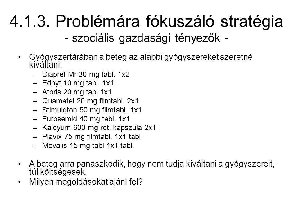 4.1.3. Problémára fókuszáló stratégia - szociális gazdasági tényezők - Gyógyszertárában a beteg az alábbi gyógyszereket szeretné kiváltani: –Diaprel M