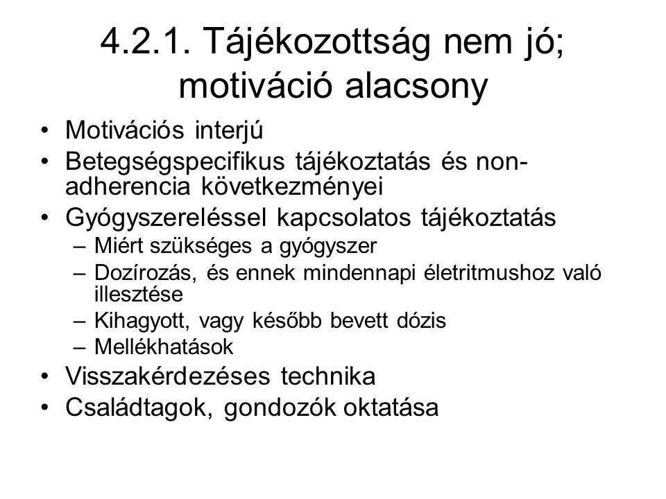 4.2.1. Tájékozottság nem jó; motiváció alacsony Motivációs interjú Betegségspecifikus tájékoztatás és non- adherencia következményei Gyógyszereléssel