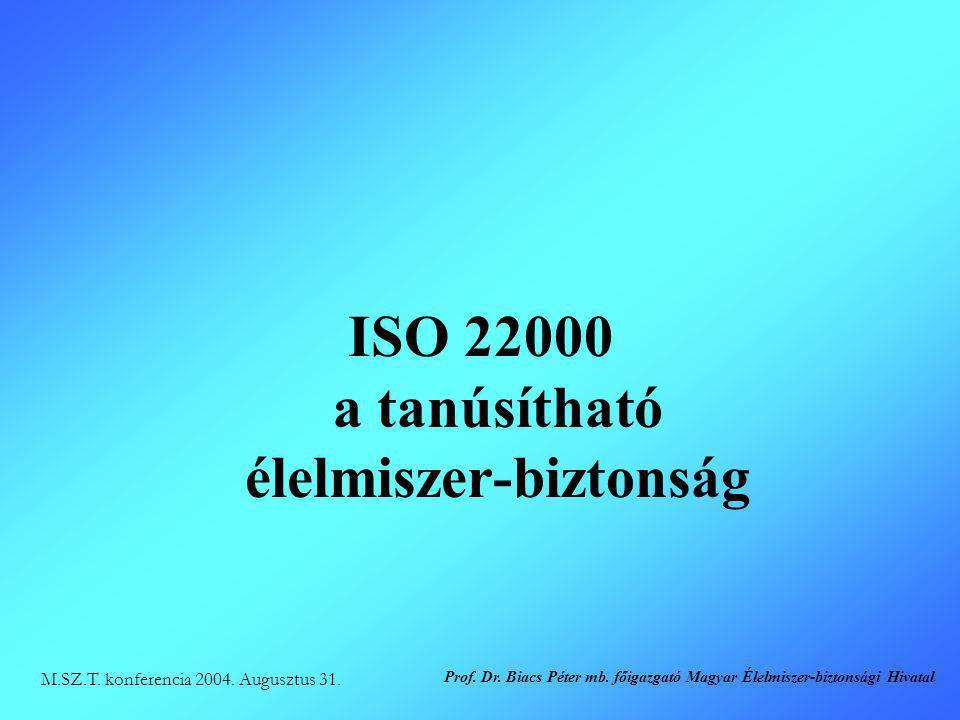 ISO 22000 a tanúsítható élelmiszer-biztonság M.SZ.T. konferencia 2004. Augusztus 31. Prof. Dr. Biacs Péter mb. főigazgató Magyar Élelmiszer-biztonsági