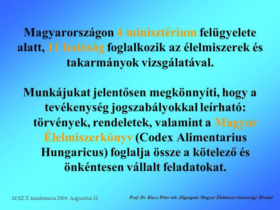 Magyarországon 4 minisztérium felügyelete alatt, 11 hatóság foglalkozik az élelmiszerek és takarmányok vizsgálatával. Munkájukat jelentősen megkönnyít