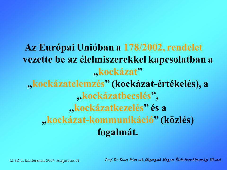 """Az Európai Unióban a 178/2002, rendelet vezette be az élelmiszerekkel kapcsolatban a """"kockázat"""" """"kockázatelemzés"""" (kockázat-értékelés), a """"kockázatbec"""