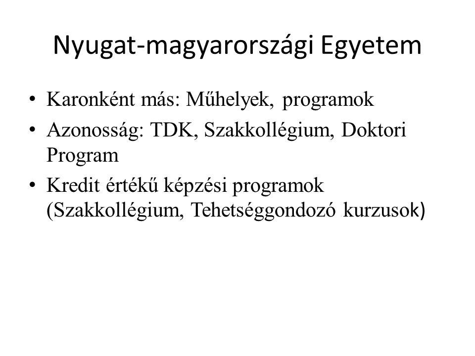 Nyugat-magyarországi Egyetem Karonként más: Műhelyek, programok Azonosság: TDK, Szakkollégium, Doktori Program Kredit értékű képzési programok (Szakkollégium, Tehetséggondozó kurzuso k)