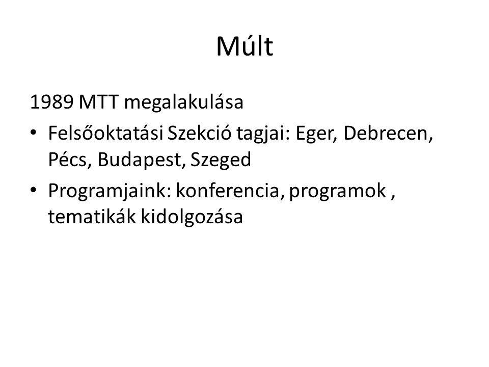Múlt 1989 MTT megalakulása Felsőoktatási Szekció tagjai: Eger, Debrecen, Pécs, Budapest, Szeged Programjaink: konferencia, programok, tematikák kidolg