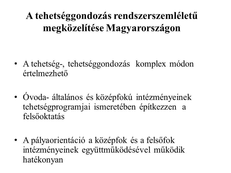 A tehetséggondozás rendszerszemléletű megközelítése Magyarországon A tehetség-, tehetséggondozás komplex módon értelmezhető Óvoda- általános és középfokú intézményeinek tehetségprogramjai ismeretében építkezzen a felsőoktatás A pályaorientáció a középfok és a felsőfok intézményeinek együttműködésével működik hatékonyan