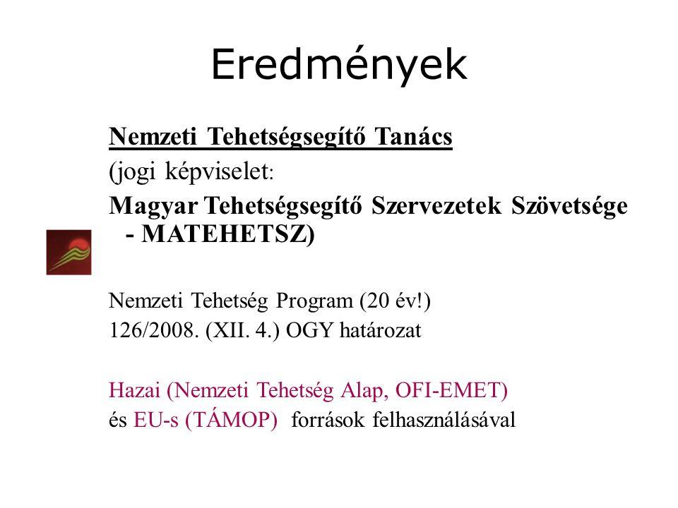 Nemzeti Tehetségsegítő Tanács (jogi képviselet : Magyar Tehetségsegítő Szervezetek Szövetsége - MATEHETSZ) Nemzeti Tehetség Program (20 év!) 126/2008.