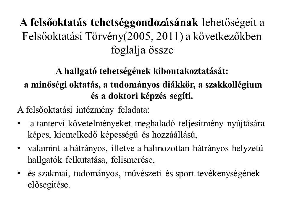 A felsőoktatás tehetséggondozásának lehetőségeit a Felsőoktatási Törvény(2005, 2011) a következőkben foglalja össze A hallgató tehetségének kibontakoz