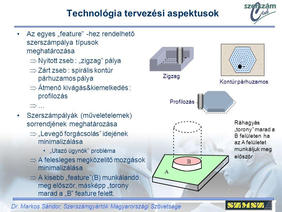 """Dr. Markos Sándor, Szerszámgyártók Magyarországi Szövetsége Technológia tervezési aspektusok Az egyes """"feature"""" -hez rendelhető szerszámpálya típusok"""