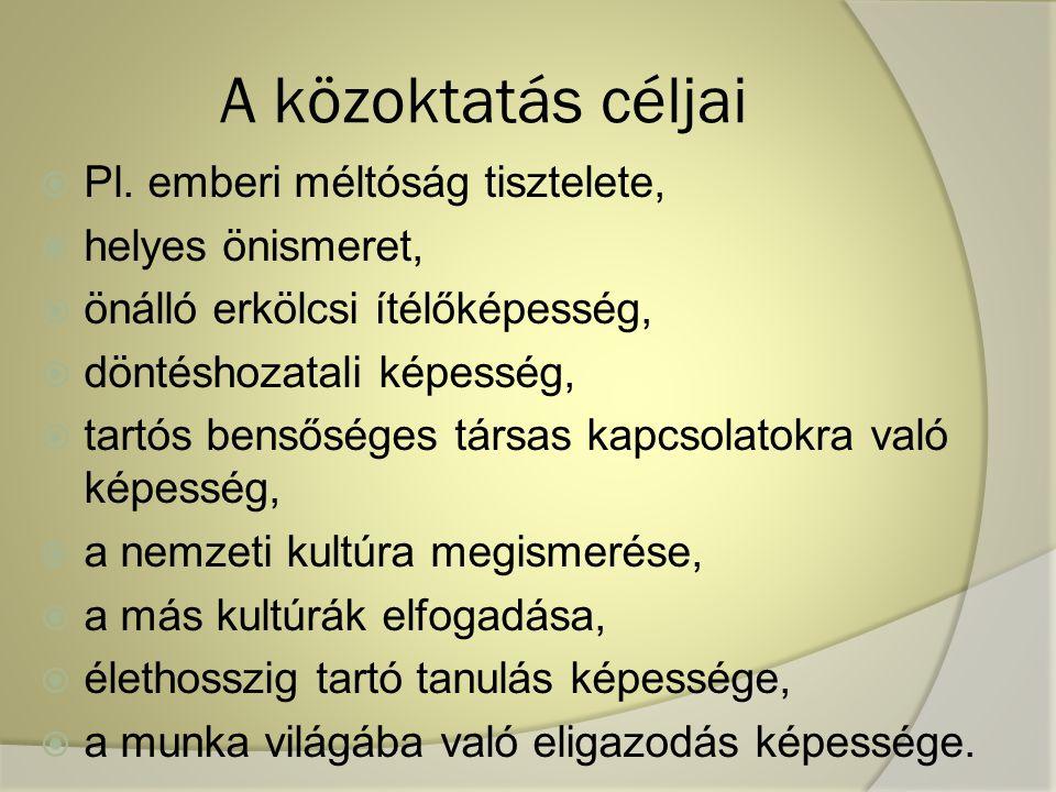 A közoktatás céljai  Pl.