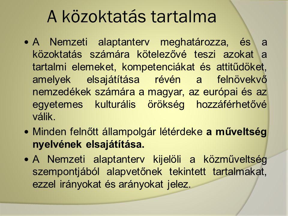 A közoktatás tartalma A Nemzeti alaptanterv meghatározza, és a közoktatás számára kötelezővé teszi azokat a tartalmi elemeket, kompetenciákat és attitűdöket, amelyek elsajátítása révén a felnövekvő nemzedékek számára a magyar, az európai és az egyetemes kulturális örökség hozzáférhetővé válik.
