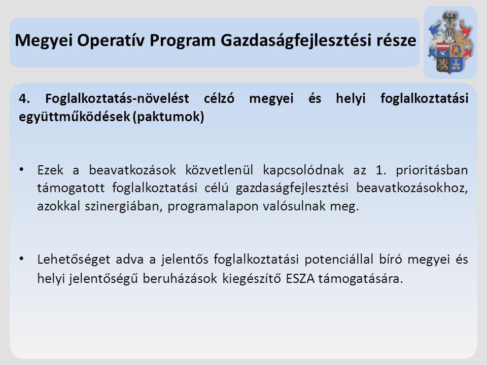 4. Foglalkoztatás-növelést célzó megyei és helyi foglalkoztatási együttműködések (paktumok) Ezek a beavatkozások közvetlenül kapcsolódnak az 1. priori