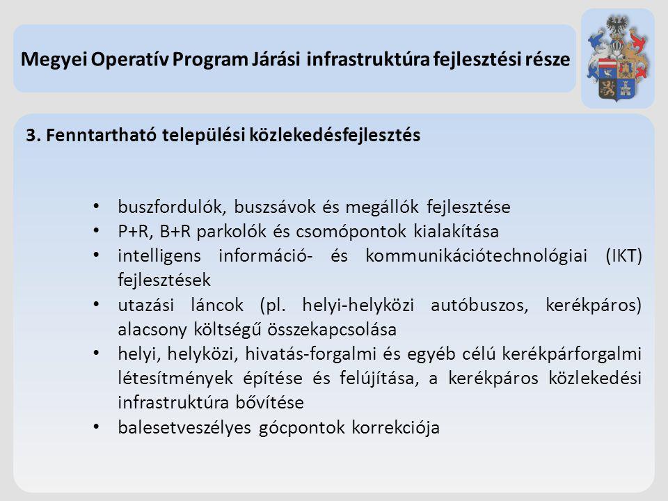 3. Fenntartható települési közlekedésfejlesztés buszfordulók, buszsávok és megállók fejlesztése P+R, B+R parkolók és csomópontok kialakítása intellige