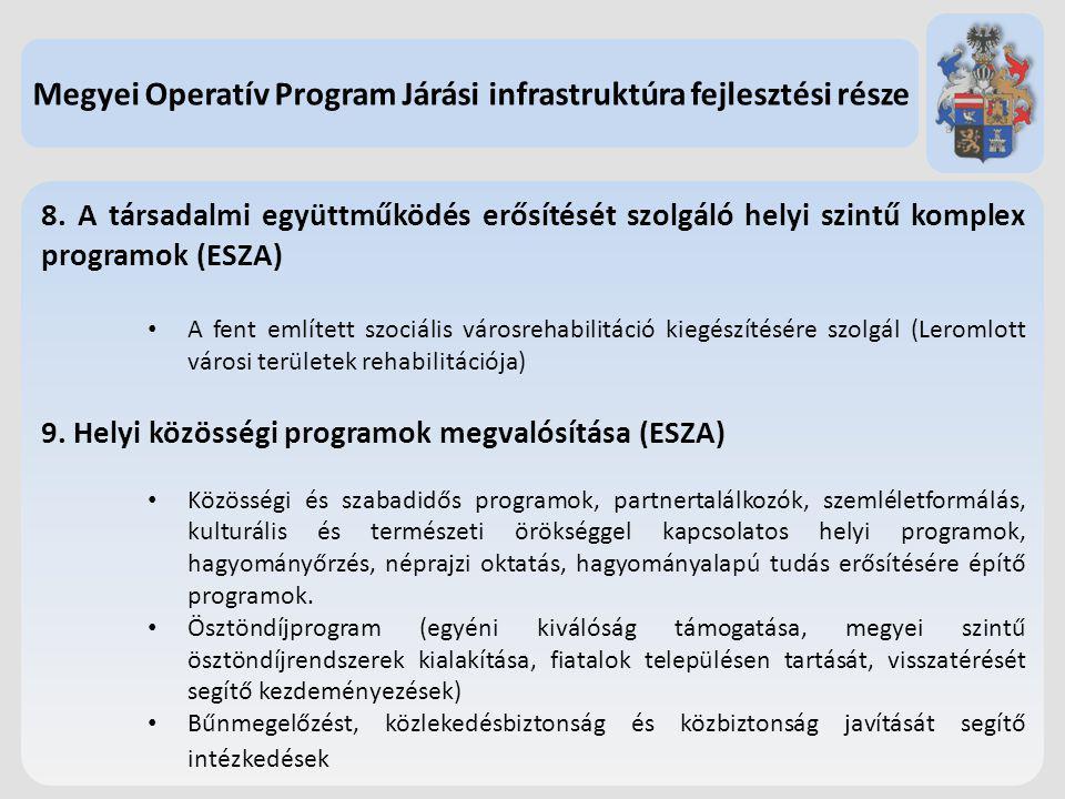 8. A társadalmi együttműködés erősítését szolgáló helyi szintű komplex programok (ESZA) A fent említett szociális városrehabilitáció kiegészítésére sz
