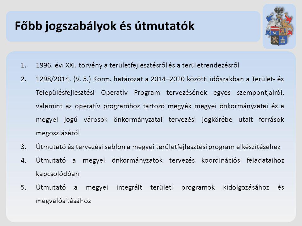 Főbb jogszabályok és útmutatók 1.1996. évi XXI. törvény a területfejlesztésről és a területrendezésről 2.1298/2014. (V. 5.) Korm. határozat a 2014–202