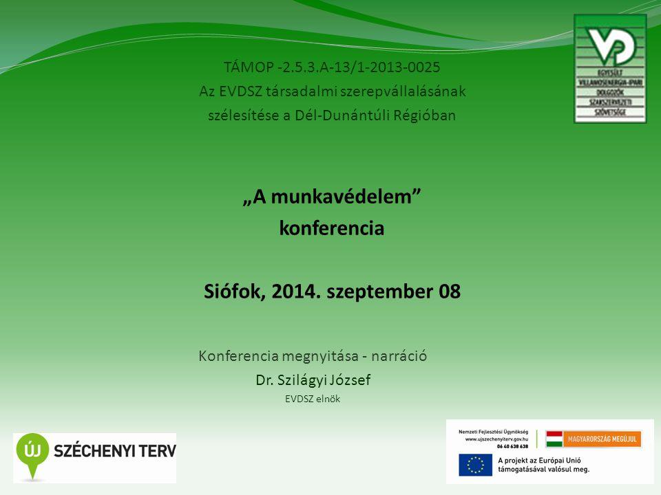 """TÁMOP -2.5.3.A-13/1-2013-0025 Az EVDSZ társadalmi szerepvállalásának szélesítése a Dél-Dunántúli Régióban 1 """"A munkavédelem konferencia Siófok, 2014."""