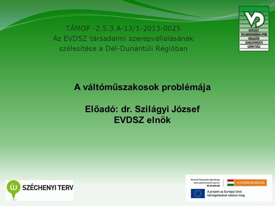 TÁMOP -2.5.3.A-13/1-2013-0025 Az EVDSZ társadalmi szerepvállalásának szélesítése a Dél-Dunántúli Régióban 5 A váltóműszakosok problémája Előadó: dr.