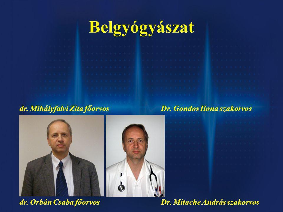 Belgyógyászat dr.Mihályfalvi Zita főorvosDr. Gondos Ilona szakorvos dr.