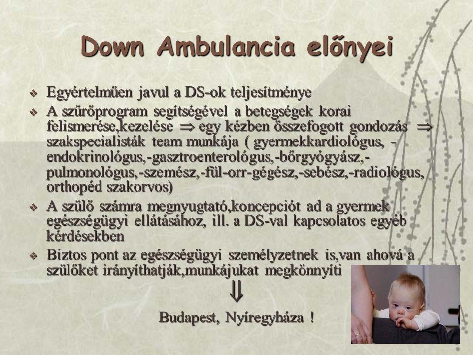 Down Ambulancia előnyei  Egyértelműen javul a DS-ok teljesítménye  A szűrőprogram segítségével a betegségek korai felismerése,kezelése  egy kézben