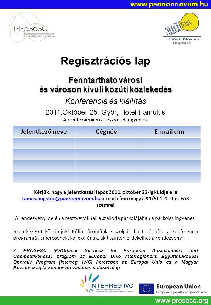 www.prosesc.org Regisztrációs lap Fenntartható városi és városon kívüli közúti közlekedés Konferencia és kiállítás 2011.Október 25, Győr, Hotel Famulu
