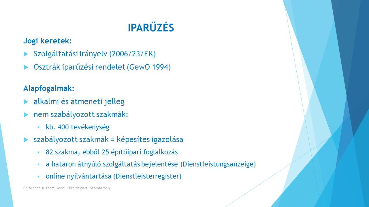 IPARŰZÉS Jogi keretek:  Szolgáltatási irányelv (2006/23/EK)  Osztrák iparűzési rendelet (GewO 1994) Alapfogalmak:  alkalmi és átmeneti jelleg  nem szabályozott szakmák:  kb.