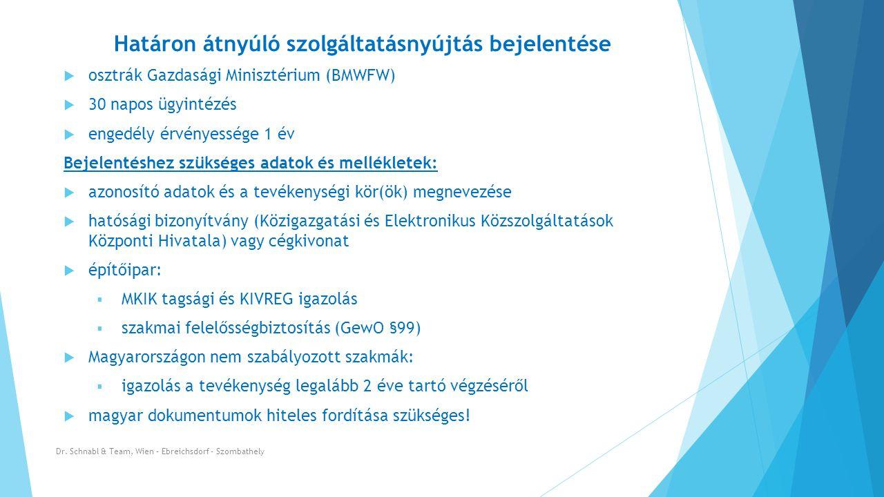Határon átnyúló szolgáltatásnyújtás bejelentése Dr.