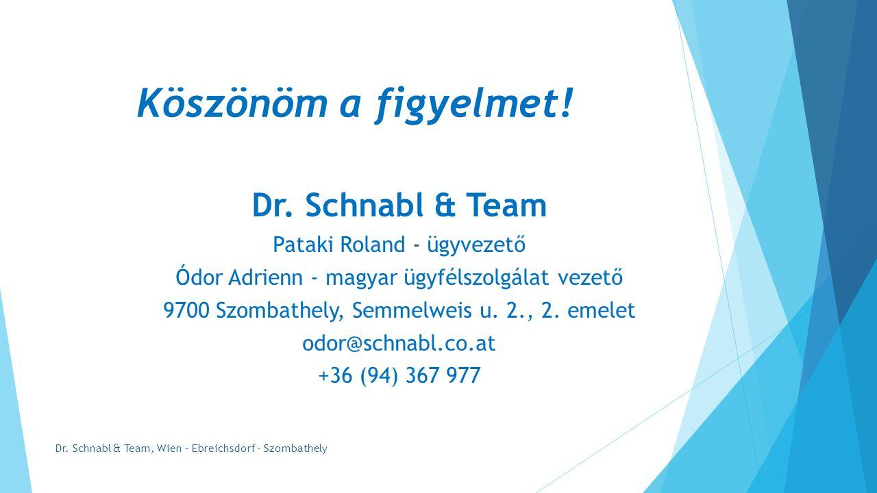 Köszönöm a figyelmet.Dr. Schnabl & Team, Wien – Ebreichsdorf - Szombathely Dr.