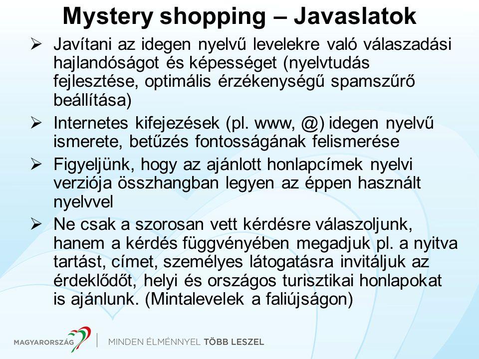 Mystery shopping – Javaslatok  Javítani az idegen nyelvű levelekre való válaszadási hajlandóságot és képességet (nyelvtudás fejlesztése, optimális ér