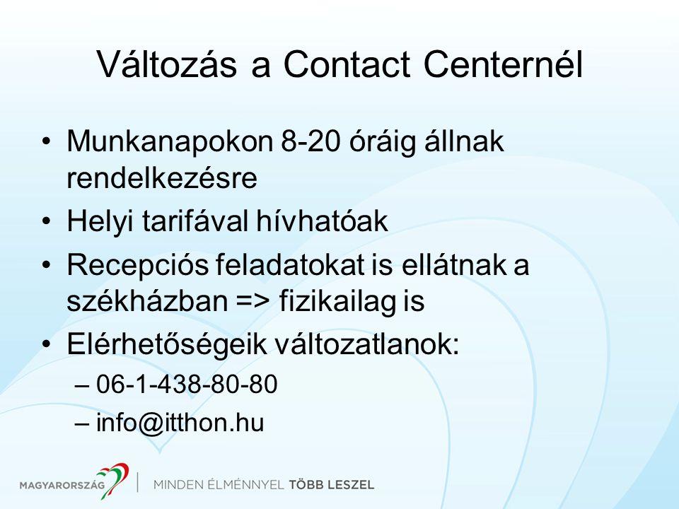 Változás a Contact Centernél Munkanapokon 8-20 óráig állnak rendelkezésre Helyi tarifával hívhatóak Recepciós feladatokat is ellátnak a székházban =>
