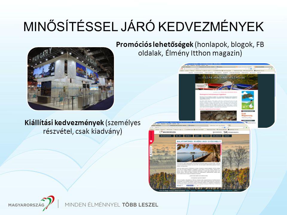 MINŐSÍTÉSSEL JÁRÓ KEDVEZMÉNYEK Kiállítási kedvezmények (személyes részvétel, csak kiadvány) Promóciós lehetőségek (honlapok, blogok, FB oldalak, Élmén