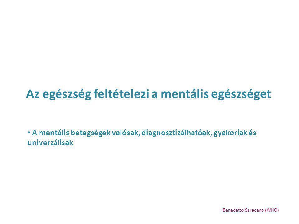 Az egészség feltételezi a mentális egészséget A mentális zavarok megelőzése és kezelése is lehetséges és kivitelezhető Benedetto Saraceno (WHO)
