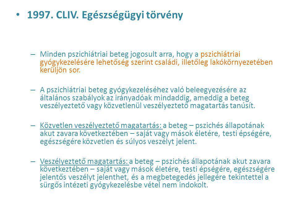 1997. CLIV. Egészségügyi törvény – Minden pszichiátriai beteg jogosult arra, hogy a pszichiátriai gyógykezelésére lehetőség szerint családi, illetőleg