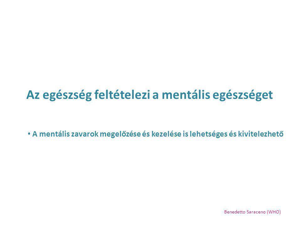 Az egészség feltételezi a mentális egészséget A mentális betegség problémái nem oldhatóak meg a mentális egészségvédelmet és a mentális zavarok kezelését egyaránt érintő nemzeti stratégia nélkül Benedetto Saraceno (WHO)