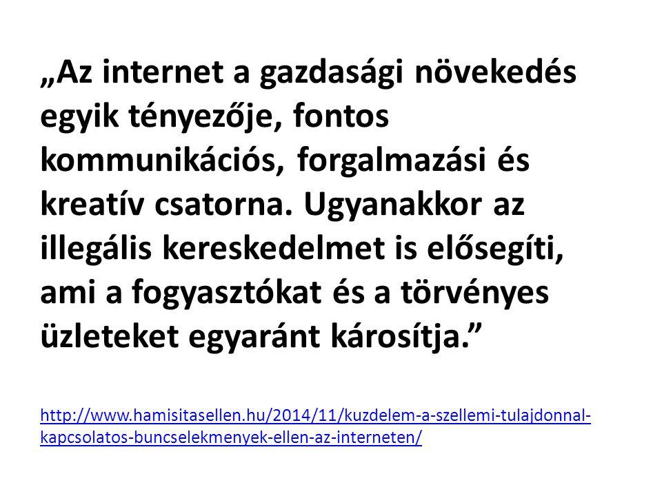 """""""Az internet a gazdasági növekedés egyik tényezője, fontos kommunikációs, forgalmazási és kreatív csatorna."""