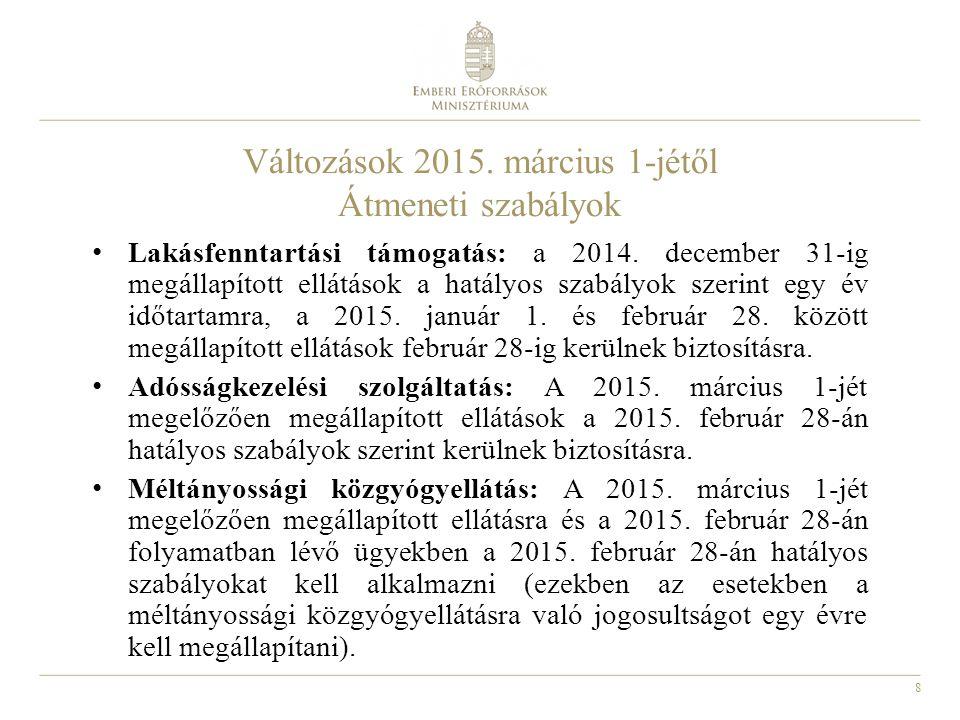 8 Változások 2015.március 1-jétől Átmeneti szabályok Lakásfenntartási támogatás: a 2014.