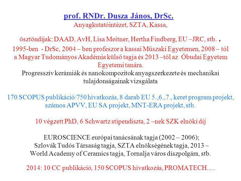 prof. RNDr. Dusza János, DrSc. Anyagkutatóintézet, SZTA, Kassa, ösztöndíjak: DAAD, AvH, Lisa Meitner, Hertha Findberg, EU –JRC, stb.. 1995-ben - DrSc,