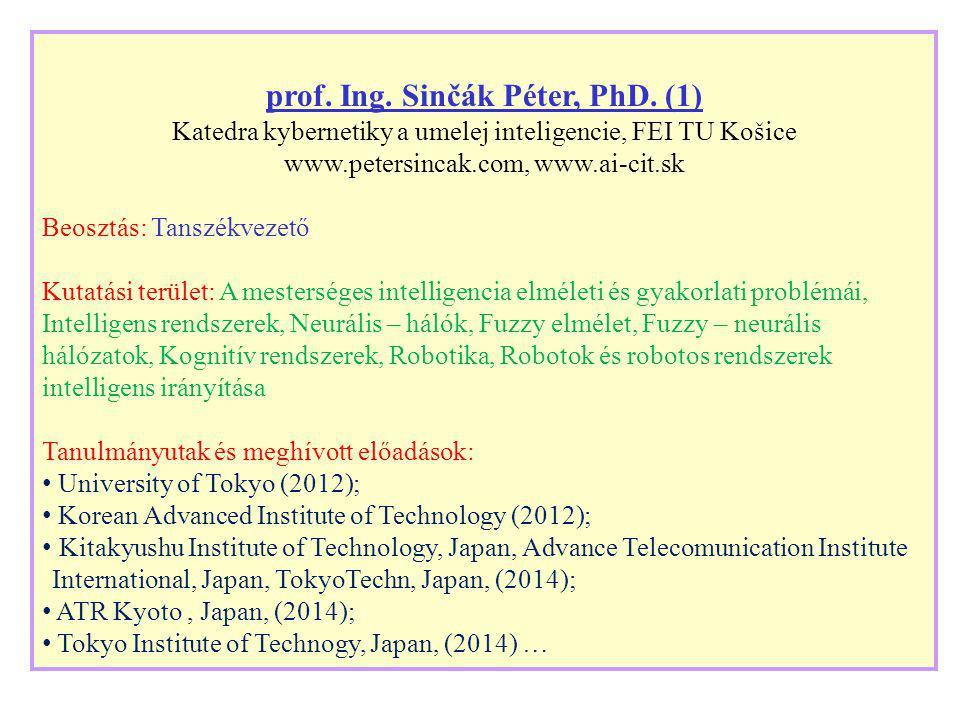 prof. Ing. Sinčák Péter, PhD. (1) Katedra kybernetiky a umelej inteligencie, FEI TU Košice www.petersincak.com, www.ai-cit.sk Beosztás: Tanszékvezető