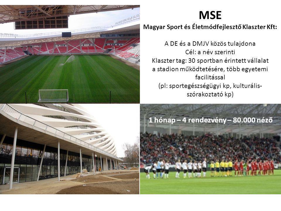 MSE Magyar Sport és Életmódfejlesztő Klaszter Kft: A DE és a DMJV közös tulajdona Cél: a név szerinti Klaszter tag: 30 sportban érintett vállalat a stadion működtetésére, több egyetemi facilitással (pl: sportegészségügyi kp, kulturális- szórakoztató kp) 1 hónap – 4 rendezvény – 80.000 néző