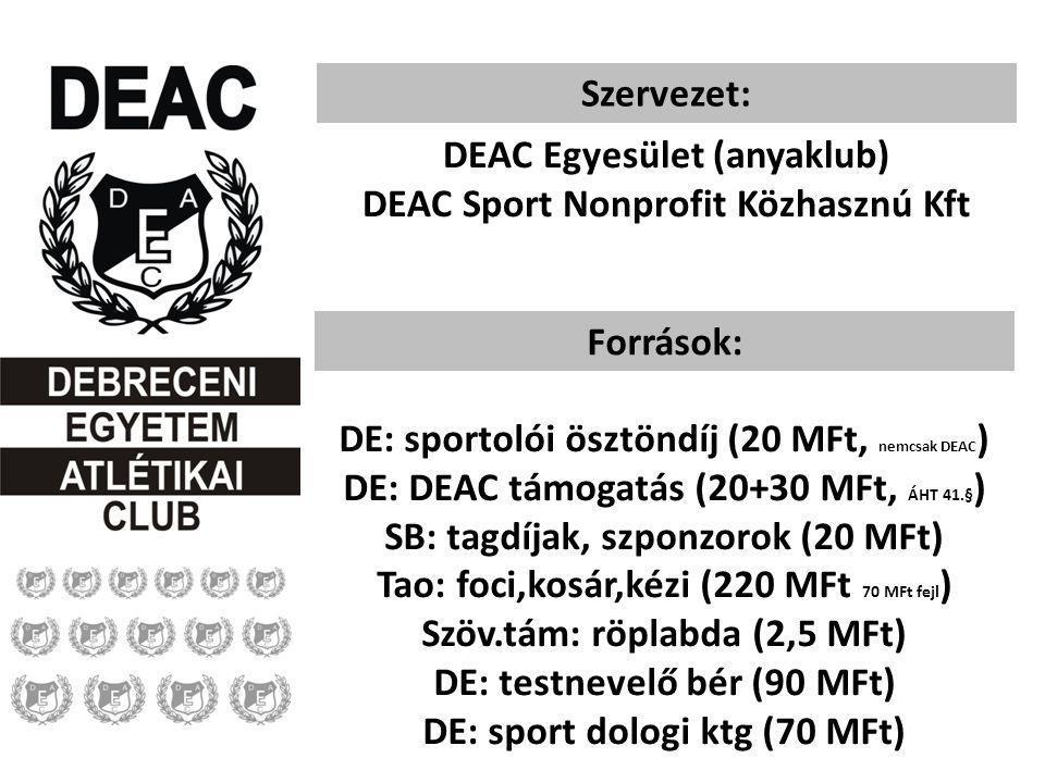 Szervezet: DEAC Egyesület (anyaklub) DEAC Sport Nonprofit Közhasznú Kft Források: DE: sportolói ösztöndíj (20 MFt, nemcsak DEAC ) DE: DEAC támogatás (