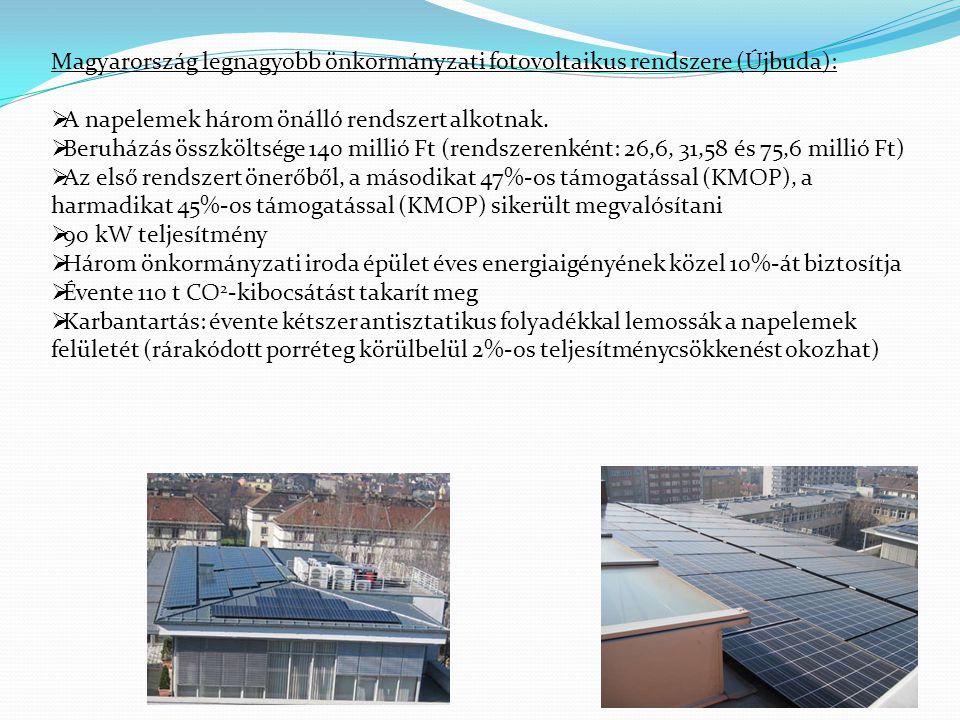 Magyarország legnagyobb önkormányzati fotovoltaikus rendszere (Újbuda):  A napelemek három önálló rendszert alkotnak.  Beruházás összköltsége 140 mi