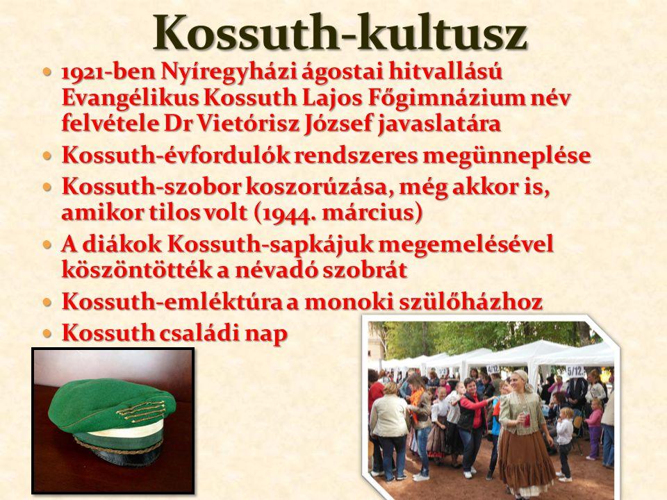 1921-ben Nyíregyházi ágostai hitvallású Evangélikus Kossuth Lajos Főgimnázium név felvétele Dr Vietórisz József javaslatára 1921-ben Nyíregyházi ágostai hitvallású Evangélikus Kossuth Lajos Főgimnázium név felvétele Dr Vietórisz József javaslatára Kossuth-évfordulók rendszeres megünneplése Kossuth-évfordulók rendszeres megünneplése Kossuth-szobor koszorúzása, még akkor is, amikor tilos volt (1944.