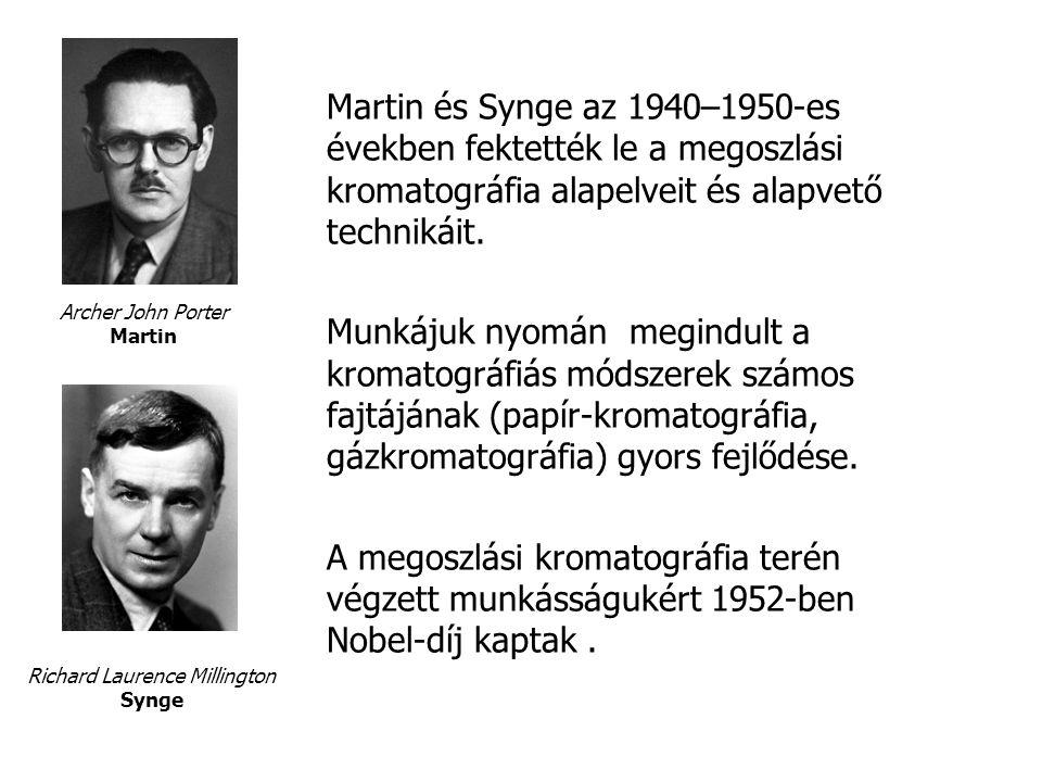 Martin és Synge az 1940–1950-es években fektették le a megoszlási kromatográfia alapelveit és alapvető technikáit.