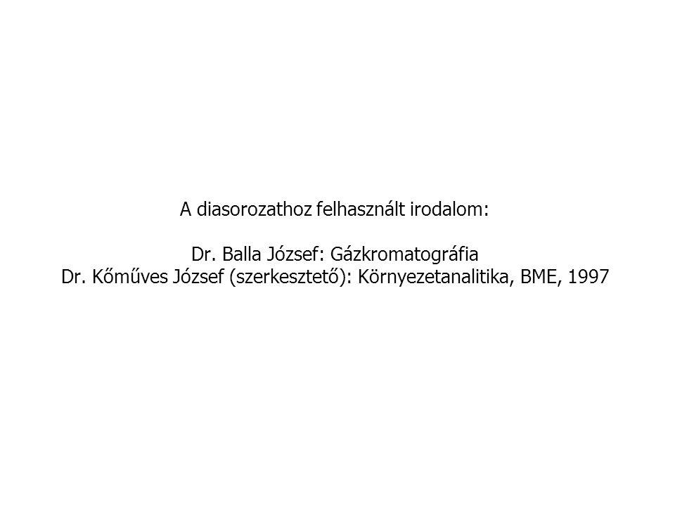A diasorozathoz felhasznált irodalom: Dr.Balla József: Gázkromatográfia Dr.