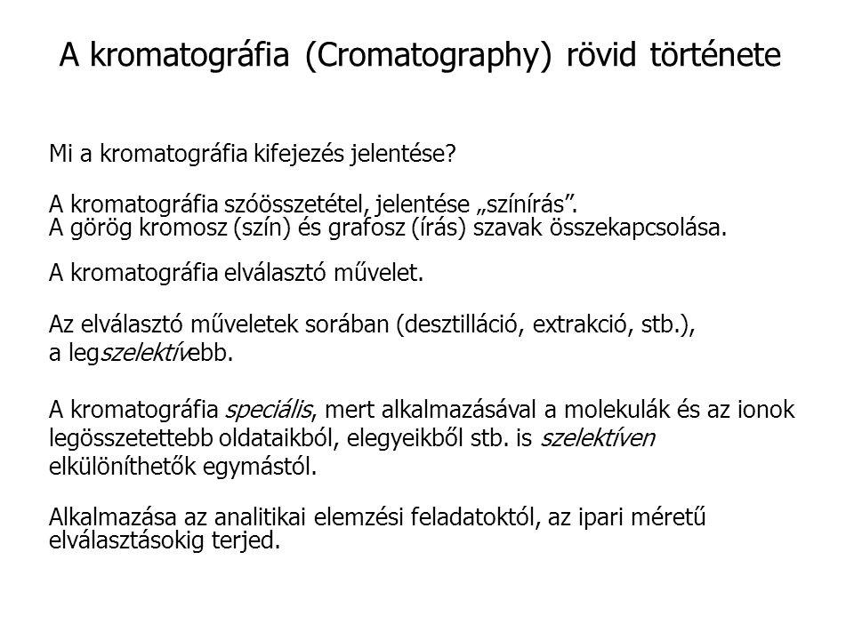 A kromatográfia (Cromatography) rövid története Mi a kromatográfia kifejezés jelentése.